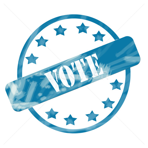 Blue Weathered Vote Stamp Circle and Stars Stock photo © mybaitshop