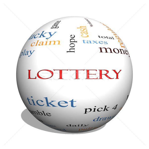 Lotteria 3D sfera word cloud giocare Foto d'archivio © mybaitshop