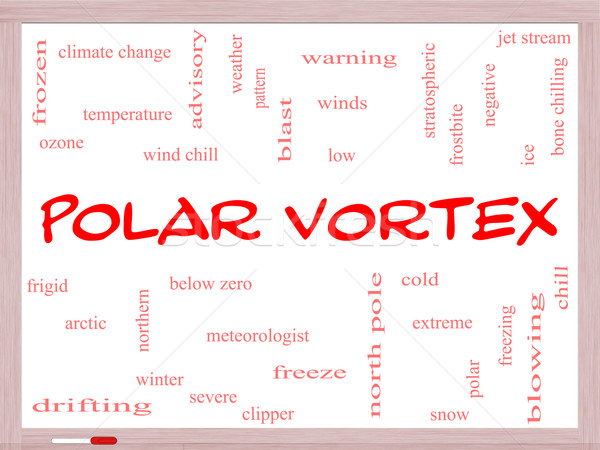 Polar Vortex Word Cloud Concept on a Whiteboard Stock photo © mybaitshop