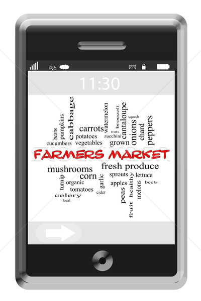 Stock photo: Farmers Market Word Cloud Concept on Touchscreen Phone