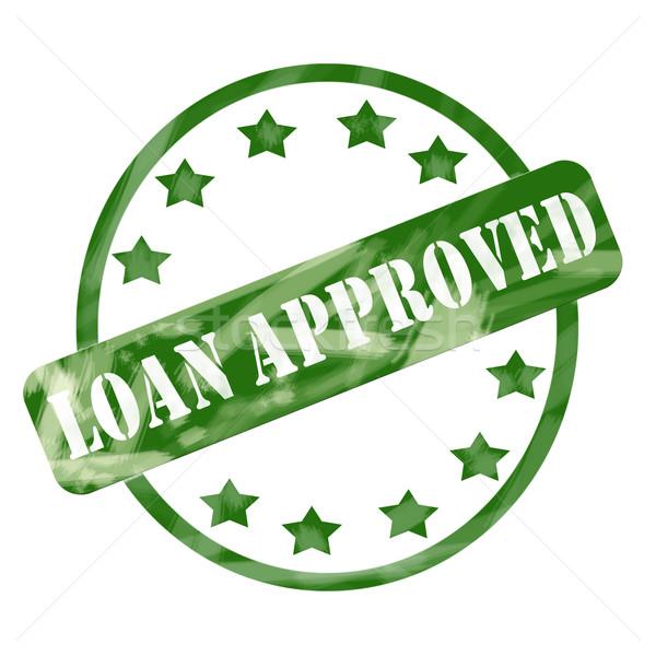 Verde intemperie prestito approvato timbro cerchio Foto d'archivio © mybaitshop
