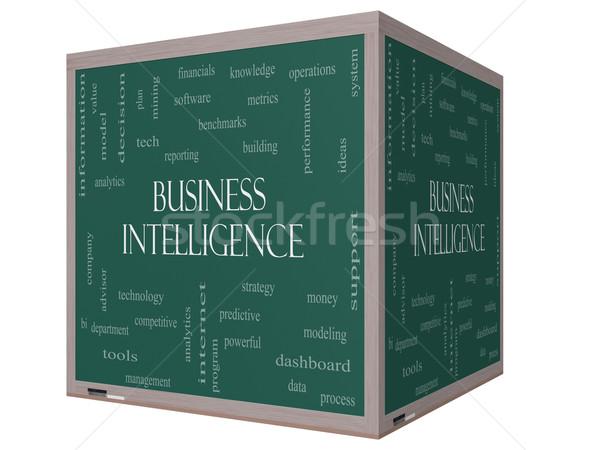 ビジネス インテリジェンス 言葉の雲 3D キューブ 黒板 ストックフォト © mybaitshop