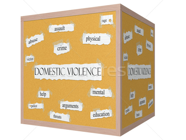 Domestic Violence 3D cube Corkboard Word Concept Stock photo © mybaitshop