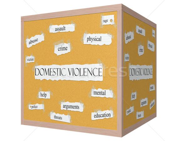家庭内暴力 3D キューブ 言葉 虐待 ストックフォト © mybaitshop