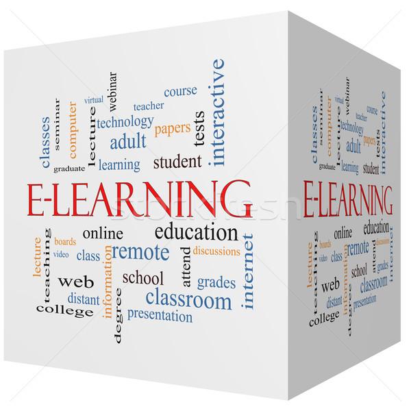 Online oktatás 3D kocka szófelhő nagyszerű online Stock fotó © mybaitshop