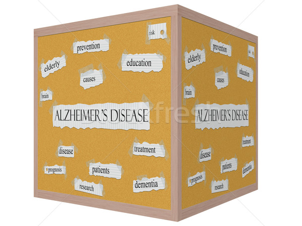 Alzheimer's Disease 3D cube Corkboard Word Concept Stock photo © mybaitshop