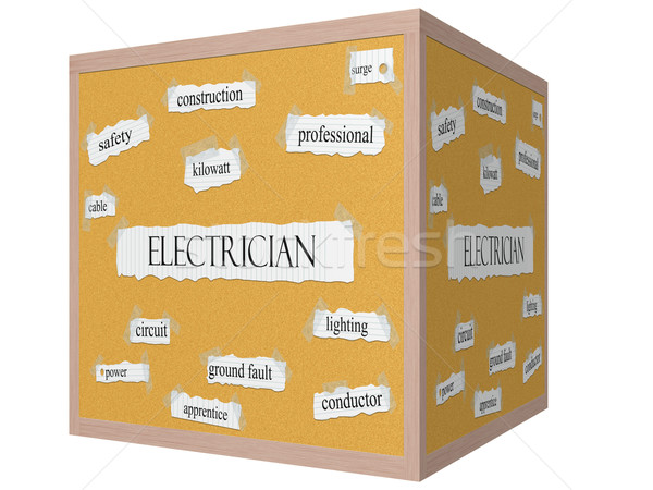 Electrician 3D cube Corkboard Word Concept Stock photo © mybaitshop