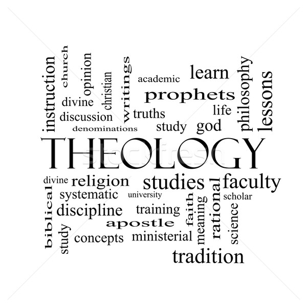 Theology Word Cloud Concept in black and white Stock photo © mybaitshop