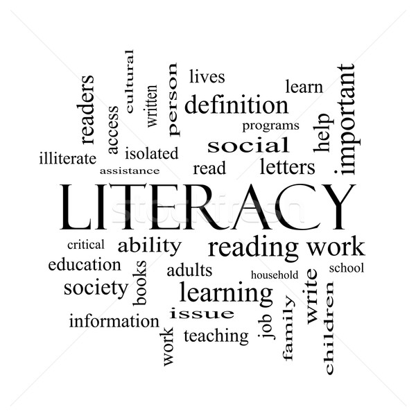 Literacy Word Cloud Concept in black and white Stock photo © mybaitshop