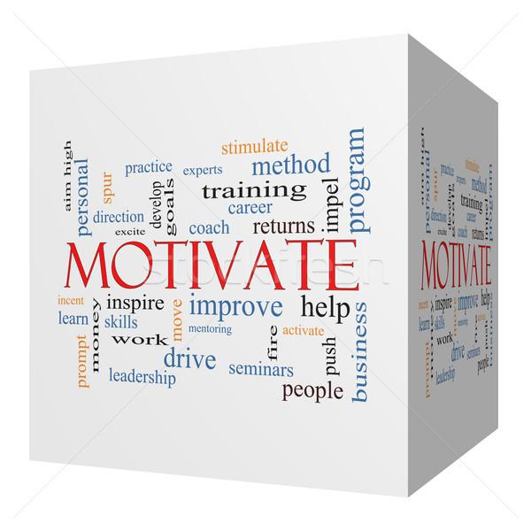 Motivate 3D cube Word Cloud Concept Stock photo © mybaitshop