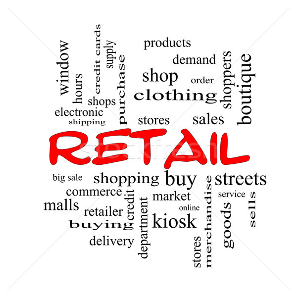 Retail Word Cloud Concept in red caps Stock photo © mybaitshop