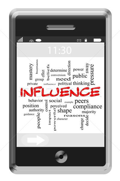 Influencer nuage de mots écran tactile téléphone magnifique pression Photo stock © mybaitshop