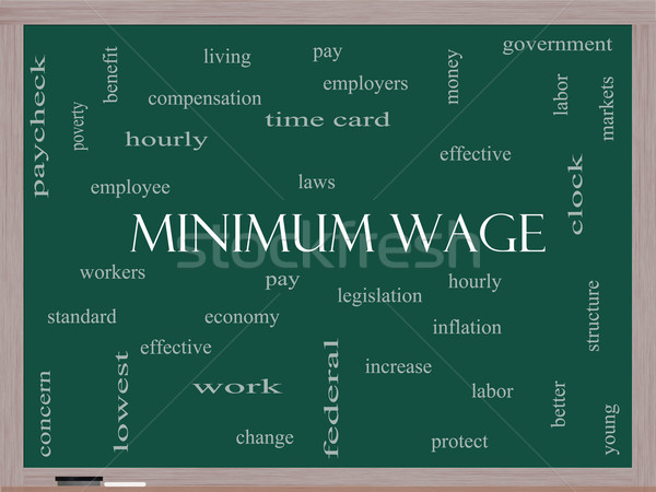 Minimum Wage Word Cloud Concept on a Blackboard Stock photo © mybaitshop