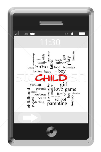 Child Word Cloud Concept on a Touchscreen Phone Stock photo © mybaitshop