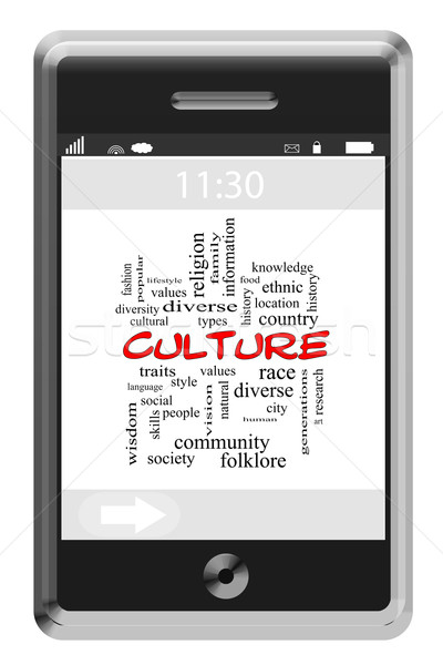 Culture Word Cloud Concept on a Touchscreen Phone Stock photo © mybaitshop