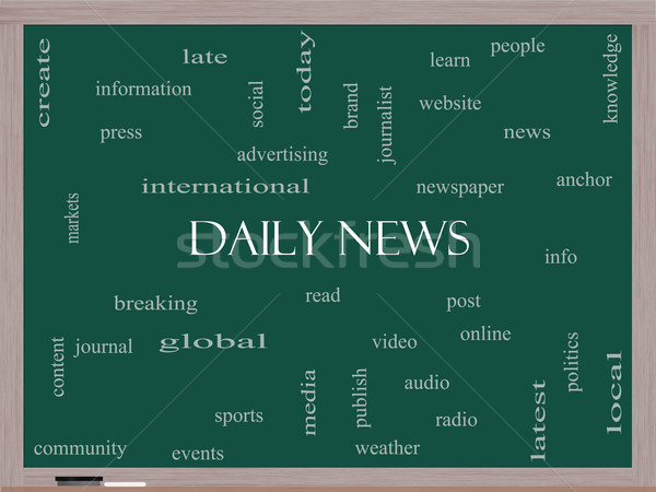 Daily News Word Cloud Concept on a Blackboard Stock photo © mybaitshop