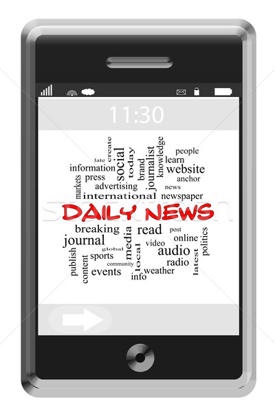 Daily News Word Cloud Concept on a Touchscreen Phone Stock photo © mybaitshop