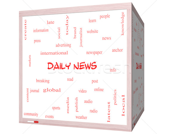 Daily News Word Cloud Concept on a 3D cube Whiteboard Stock photo © mybaitshop