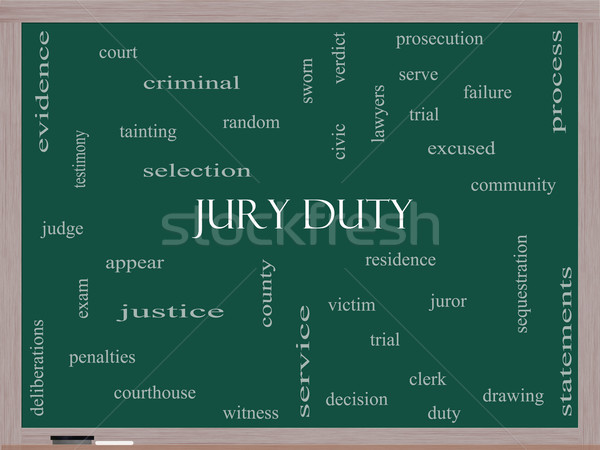 Jury Duty Word Cloud Concept on a Blackboard Stock photo © mybaitshop