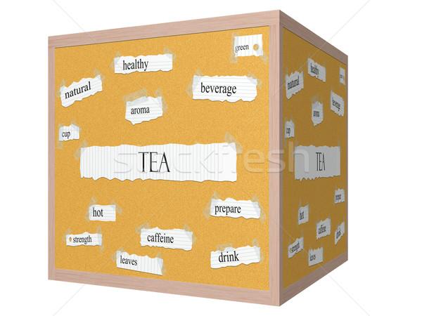 Tea 3D cube Corkboard Word Concept Stock photo © mybaitshop