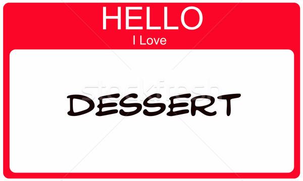 Piros hello szeretet desszert névtábla matrica Stock fotó © mybaitshop