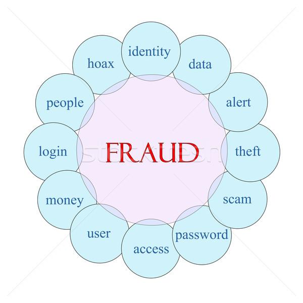 Fraude circular palabra diagrama rosa azul Foto stock © mybaitshop