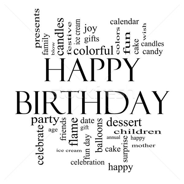 Happy Birthday Word Cloud Concept in black and white Stock photo © mybaitshop