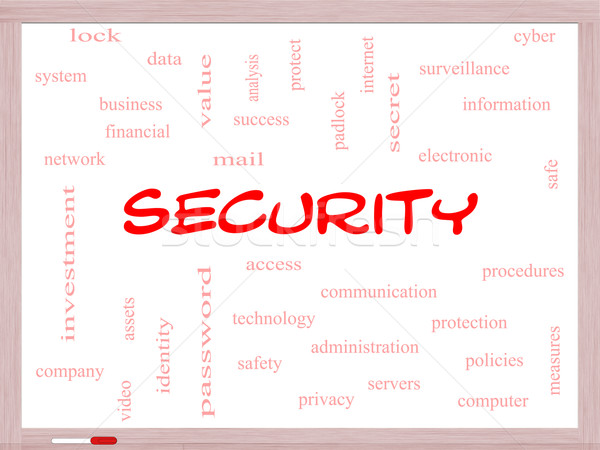 Security Word Cloud Concept on a Whiteboard Stock photo © mybaitshop