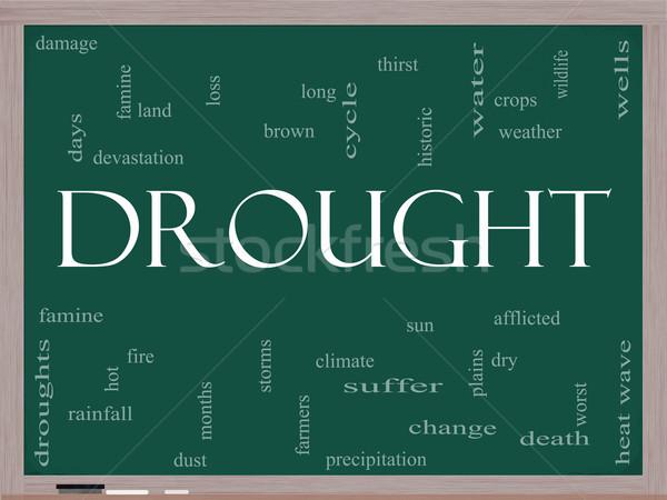 ストックフォト: 干ばつ · 言葉の雲 · 黒板 · 水 · 作物