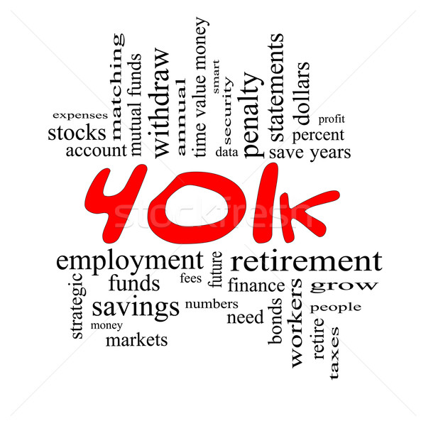 401k Word Cloud Concept in Red & Black Stock photo © mybaitshop