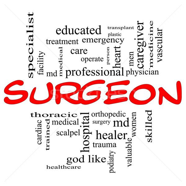 Sebész szófelhő piros nagyszerű műtét ortopéd Stock fotó © mybaitshop