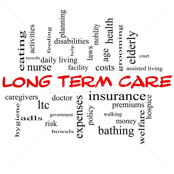 Stock photo: Long Term Care Word Cloud Concept in Red Caps