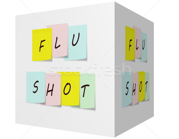 Flu Shot on Colorful Sticky notes on a 3D cube Stock photo © mybaitshop