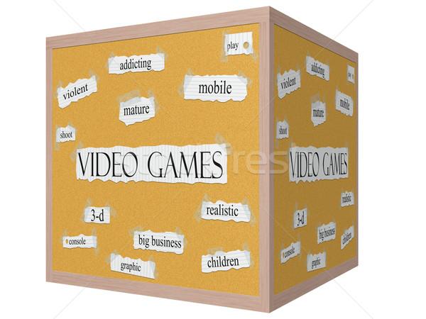 Video Games 3D cube Corkboard Word Concept Stock photo © mybaitshop