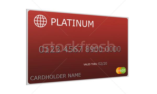 Stock fotó: 3D · platina · piros · hitelkártya · utánzás · számok
