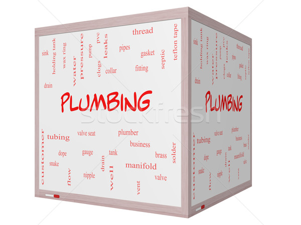 Stock photo: Plumbing Word Cloud Concept on a 3D cube Whiteboard