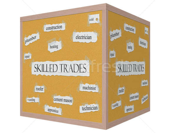 Skilled Trades 3D cube Corkboard Word Concept Stock photo © mybaitshop