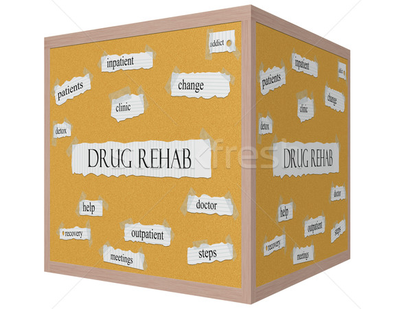 Stock photo: Drug Rehab 3D cube Corkboard Word Concept