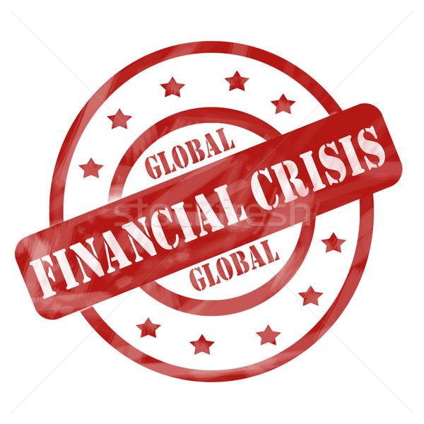 Kırmızı yıpranmış global finansal kriz damga circles Stok fotoğraf © mybaitshop