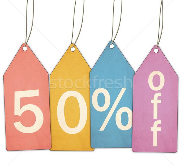 Cincuenta por ciento venta colorido etiquetas Foto stock © mybaitshop