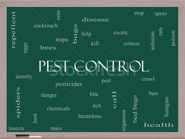 Pest Control Word Cloud Concept on a Blackboard Stock photo © mybaitshop