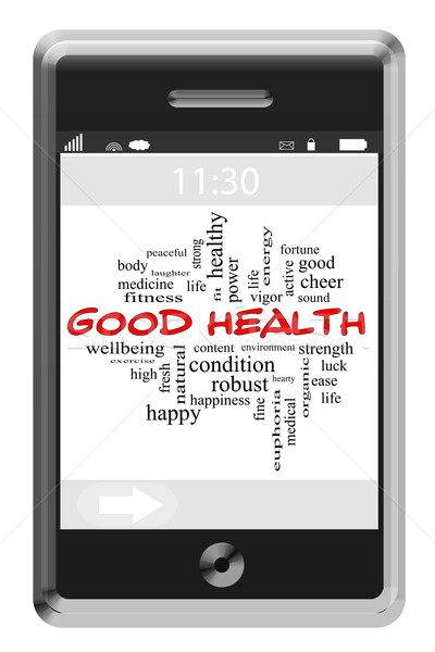 Good Health Word Cloud Concept on a Touchscreen Phone Stock photo © mybaitshop