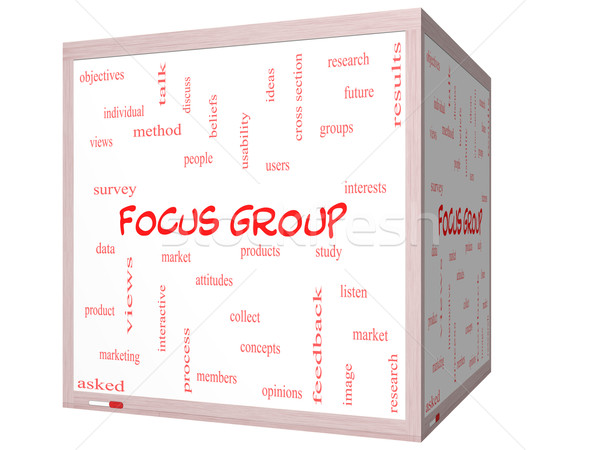 Focus group word cloud 3D cubo Foto d'archivio © mybaitshop