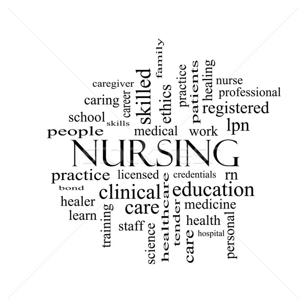 Nursing Word Cloud Concept in black and white Stock photo © mybaitshop