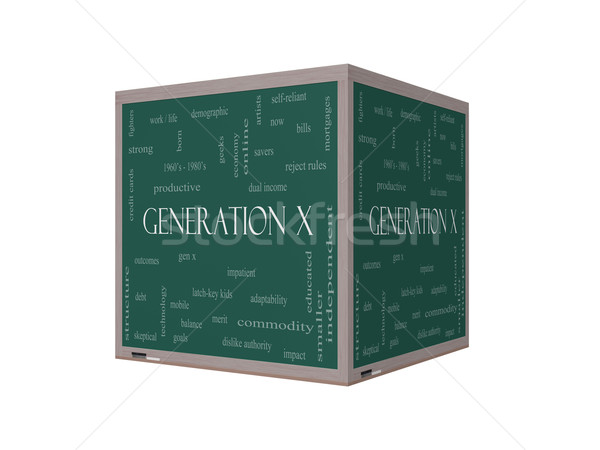 Generation X 3D Word Cloud Concept on a Blackboard Stock photo © mybaitshop