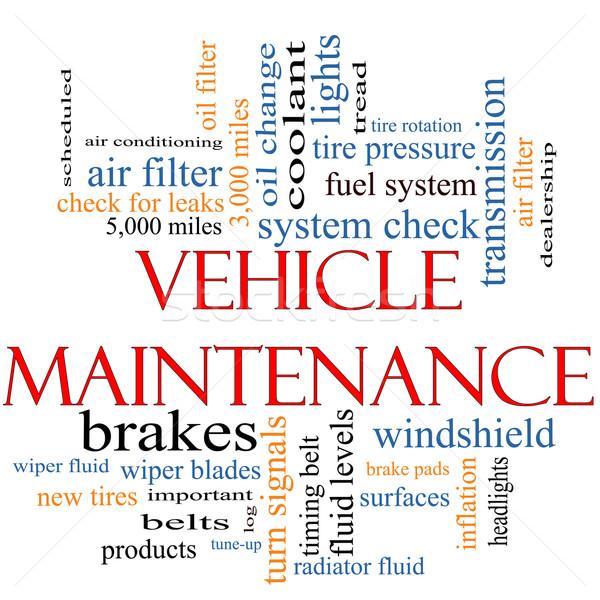 Veículo manutenção nuvem da palavra Óleo mudar Foto stock © mybaitshop