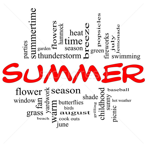 Summer Word Cloud Concept in Red Caps Stock photo © mybaitshop