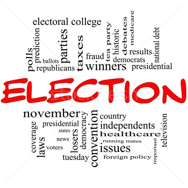 Választás piros fekete szófelhő nagyszerű elnöki Stock fotó © mybaitshop