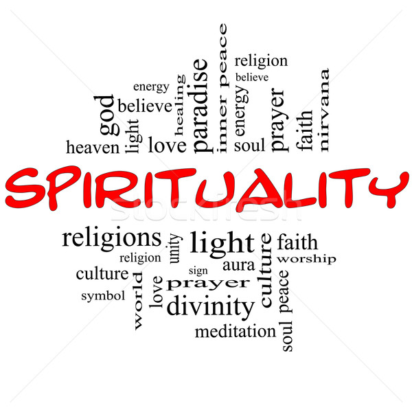 Spirituality Word Cloud Concept in red & black Stock photo © mybaitshop