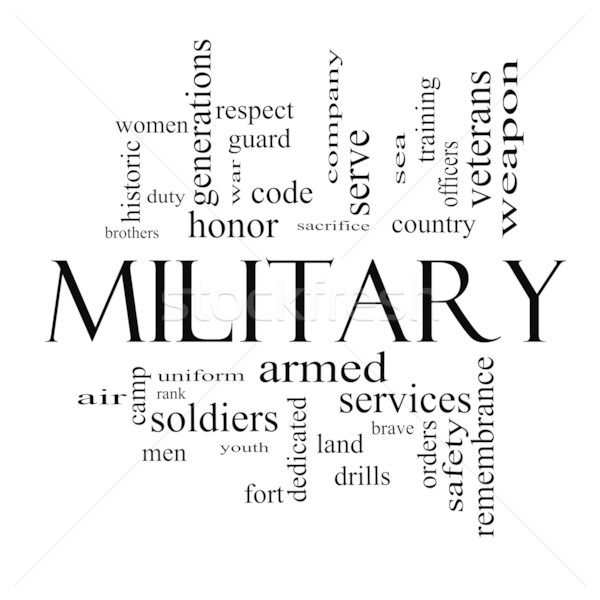 Military Word Cloud Concept in black and white Stock photo © mybaitshop